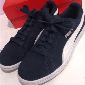 Navy and White Puma SMASH Shoes